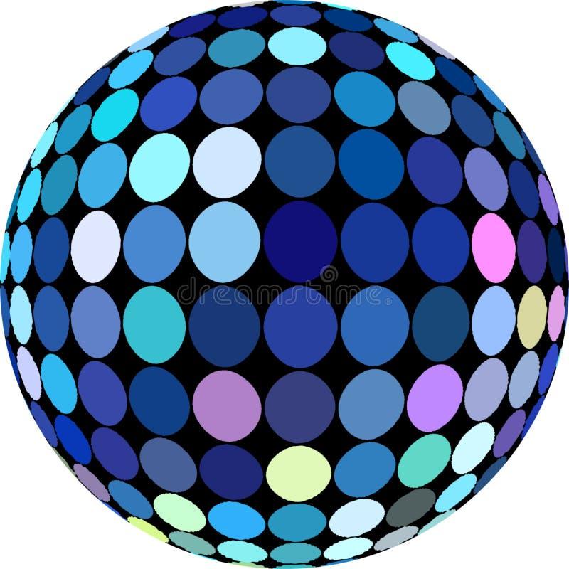 Shimmer dyskoteki błękitna piłka 3d odizolowywająca element ?wi?teczny royalty ilustracja