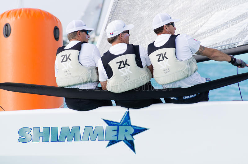 Shimmer at the Melges 20 World Championships. Key Largo, FL, USA, December 17, 2013 - After winning the Melges 20 North Americans, the crew of Shimmer, with royalty free stock image