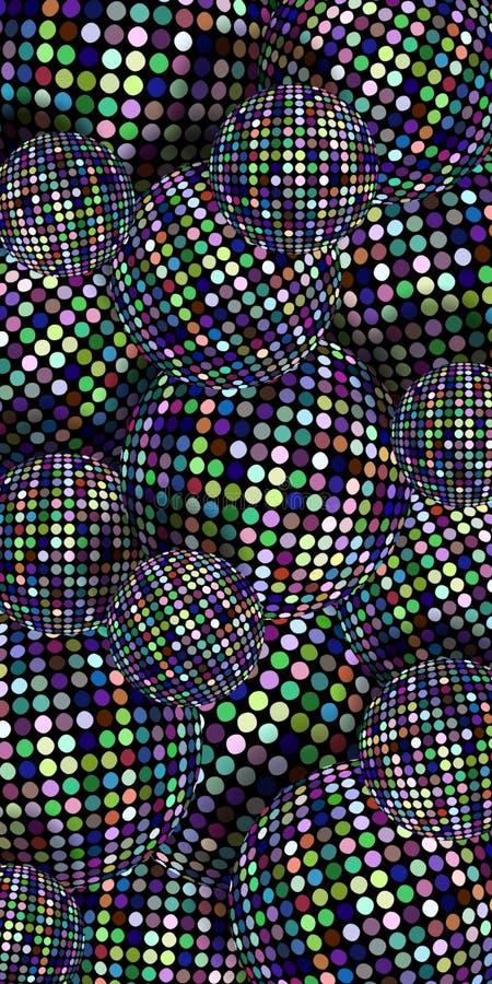 Shimmer sfer 3d pionowo tło Bez mozaiki kropek zielony błękitny wzór Modne dyskotek piłki ilustracyjne obraz royalty free