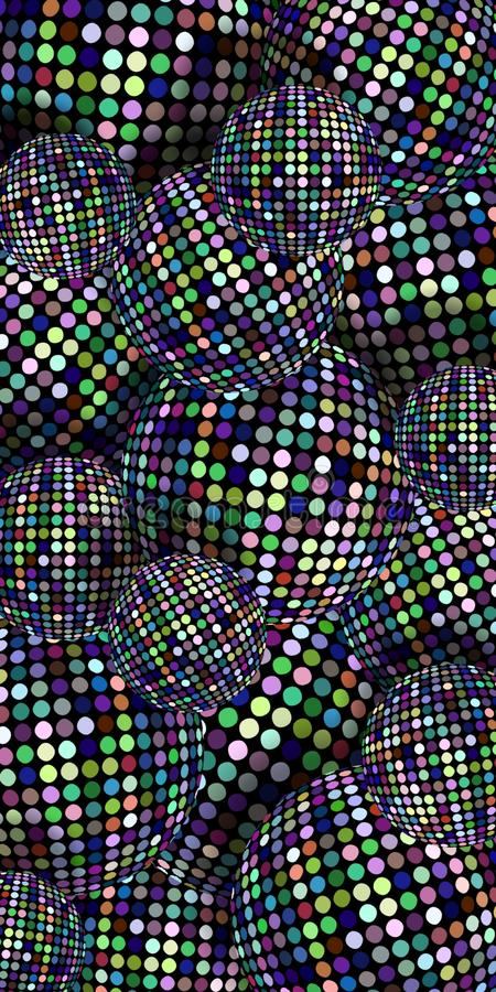 Shimmer spheres 3d vertical background. Lilac green blue mosaic dots pattern. Trendy disco balls illustration. royalty free stock image