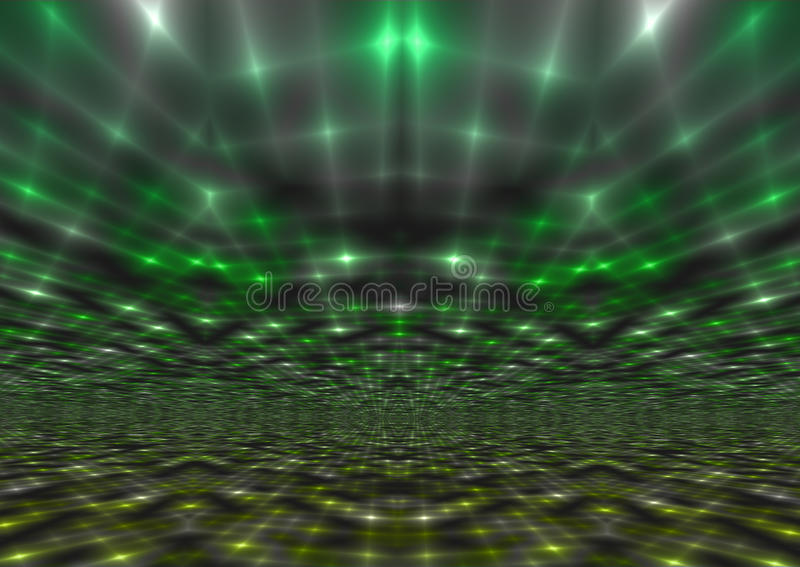 Shimmering Abstract Green Light Rays Background stock illustration