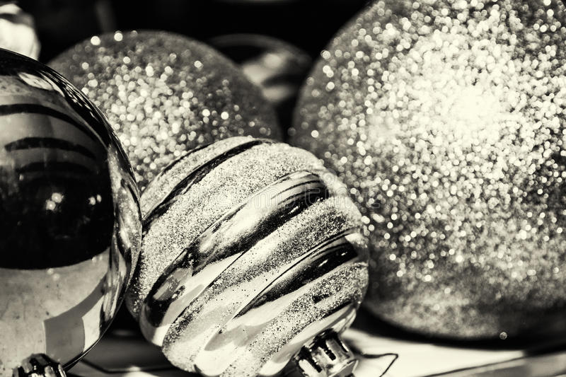 Download Shimmering Christmas Baubles Black And White Stock Photo