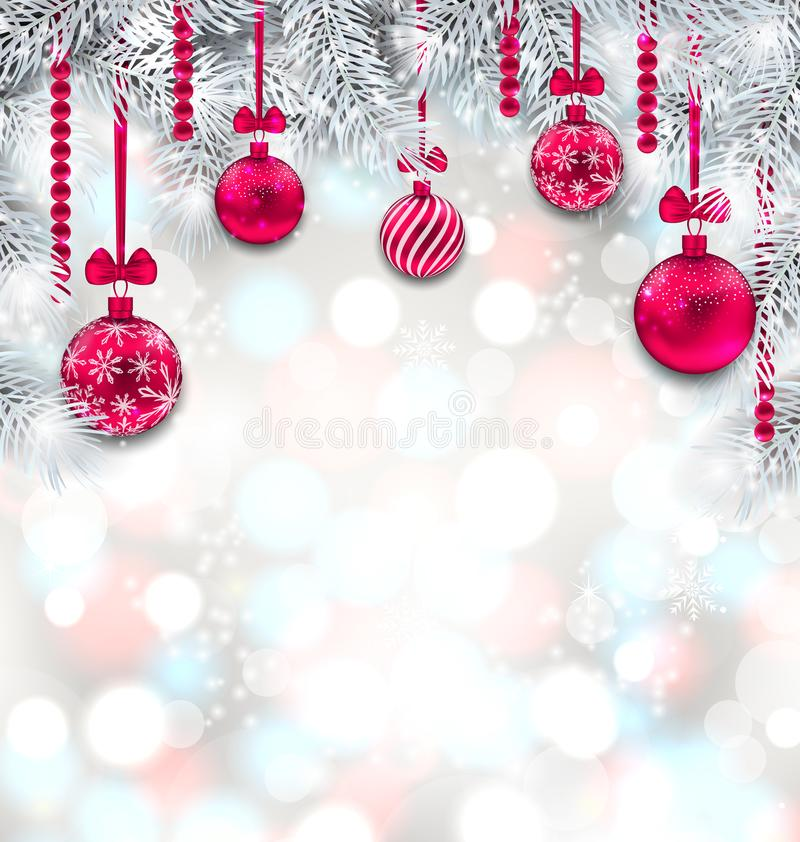 Shimmering Light Wallpaper with Fir Branches and Christmas Pink Balls. For Happy Winter Holidays - Illustration Vector royalty free illustration