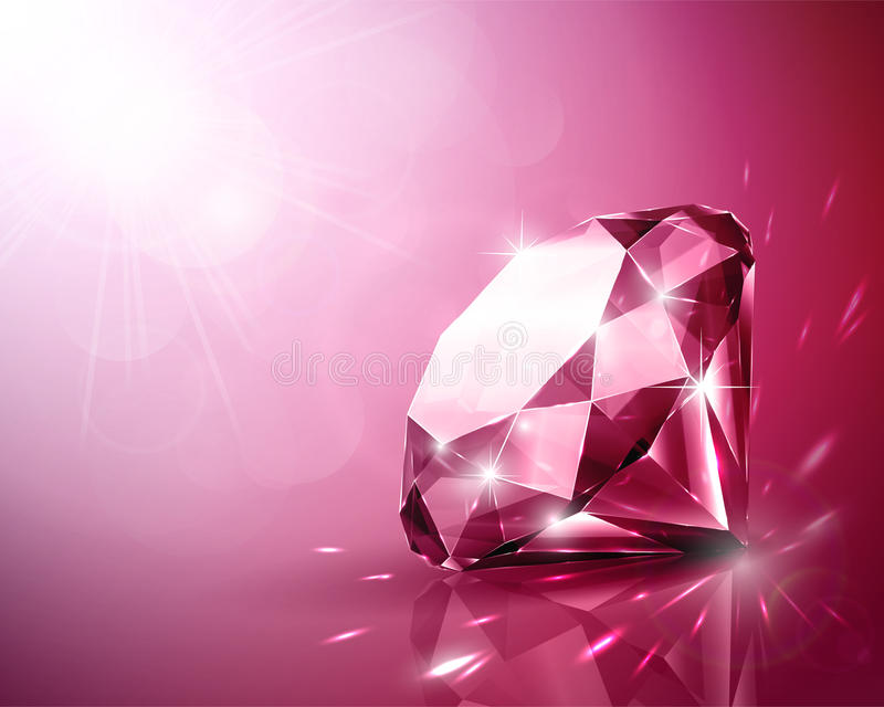 Ruby. Shimmering ruby with sparkles background vector illustration
