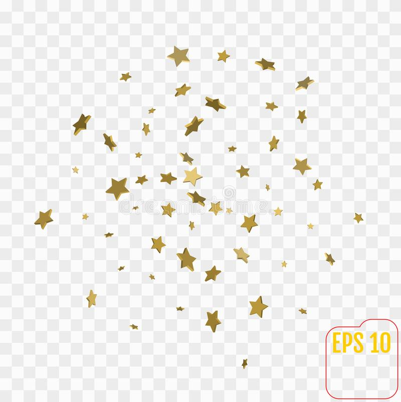 Shimmering Stars Confetti on transparent Sky. Greeting Card, stock illustration