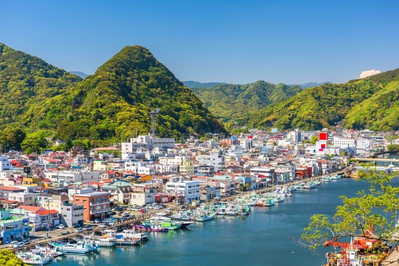 Shimoda, горизонт городка Японии стоковое изображение