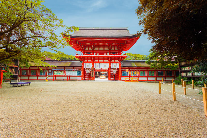 Shimogamo Heiligdom Gecentreerd Front Entrance Blue Sky royalty-vrije stock foto's