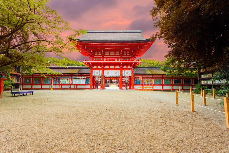 Shimogamo Heiligdom Gecentreerd Front Entrance Sunset royalty-vrije stock foto