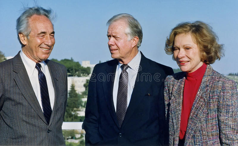 Shimon Peres Greets Jimmy Carter y Rosalynn Carter en Jerusalén fotografía de archivo libre de regalías