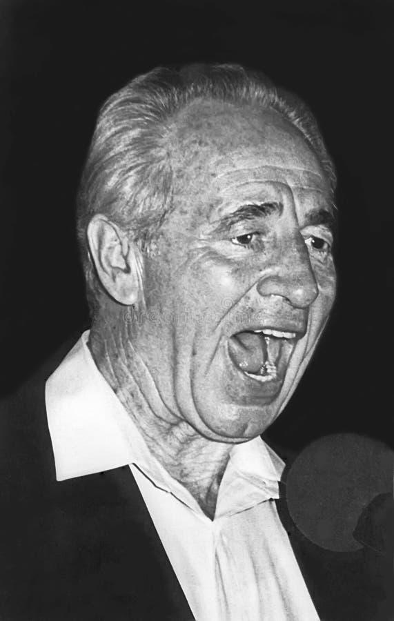 Shimon Peres Speaks en la ceremonia del monumento de Rabin foto de archivo libre de regalías