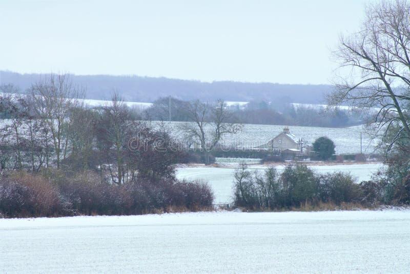 Shimpling Suffolk i snön royaltyfri foto