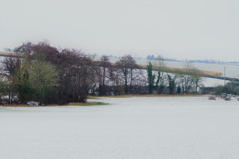 Shimpling Suffolk w śniegu fotografia stock