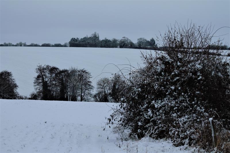 Shimpling Suffolk in the snow royalty free stock photography