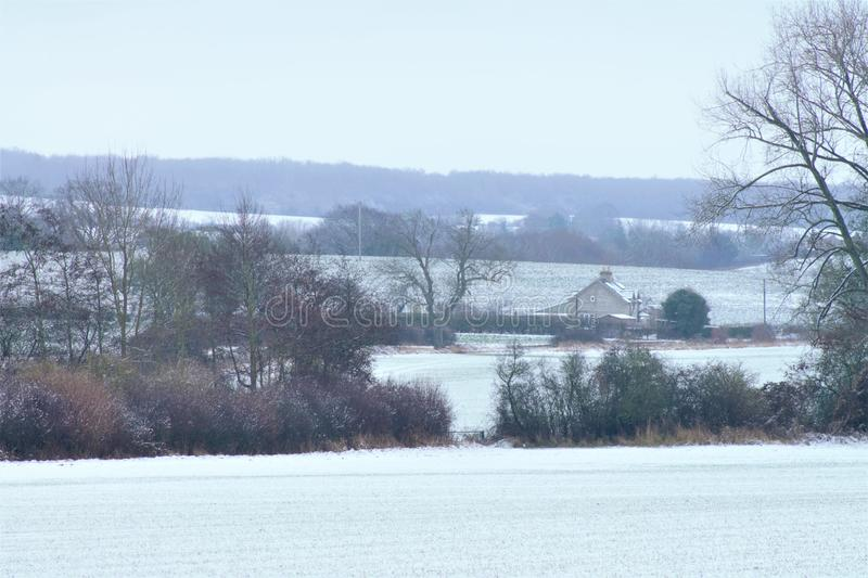 Shimpling Suffolk in the snow royalty free stock photo