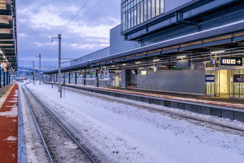 Shin函馆北杜市火车Staion,北海道,日本在冬天 图库摄影