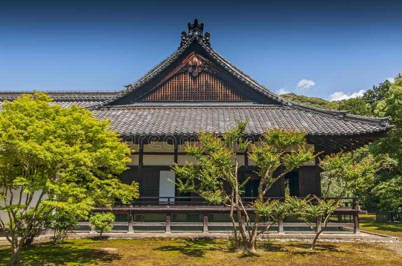 Shin den Shoren in Temple known as Awata Palace contains a garden with massive old camphor trees, Kyoto, Japan.  royalty free stock photo