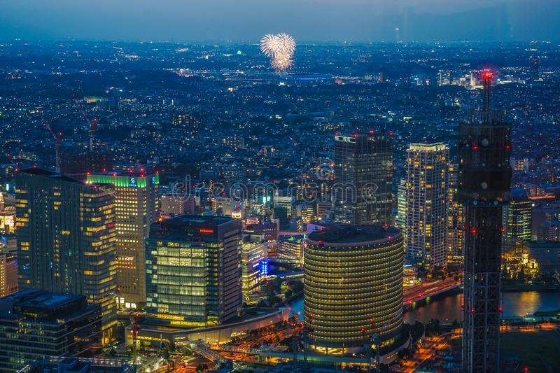 Shin-Yokohama fireworks display from Yokohama Landmark Tower observation deck royalty free stock photos