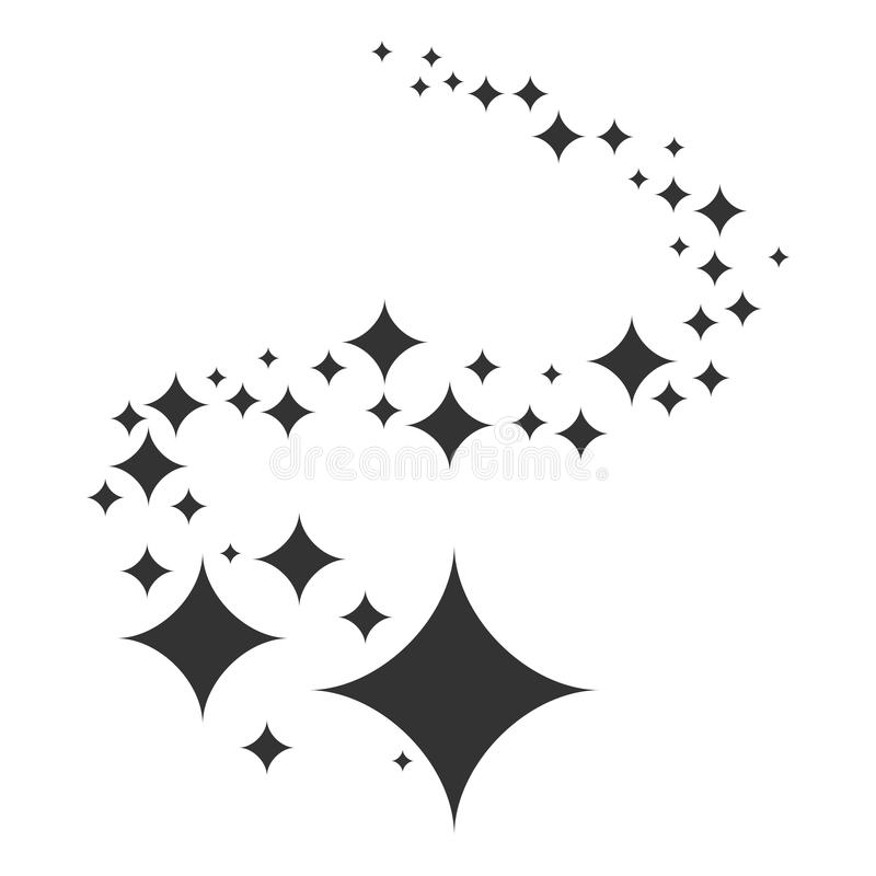 Shine. Black stars of brilliance and radiance of cleanliness and freshness. Cleaning, fresh and hygiene. Sign symbol. Isolated on white background. Vector stock illustration