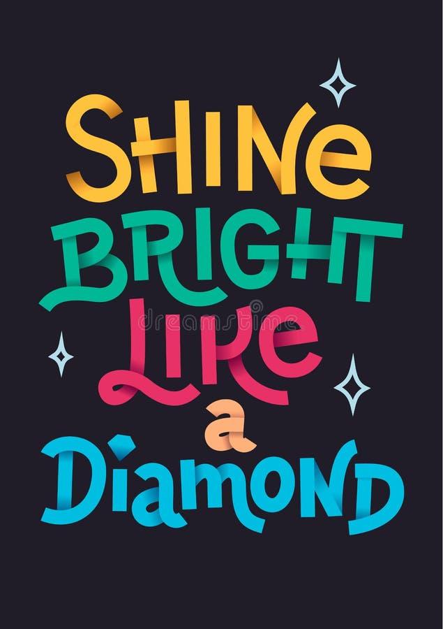 Shine bright golden texture hand lettering, modern calligraphy, on a dark background. stock illustration