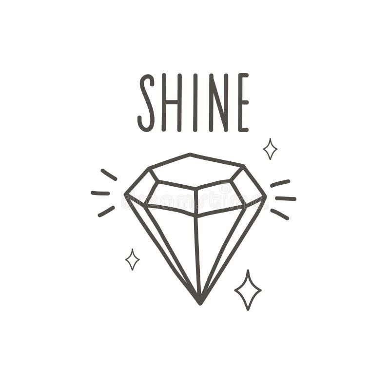 Shine Bright Like a Diamond. Doodle Illustration. Shine Bright Motivational Quote vector illustration