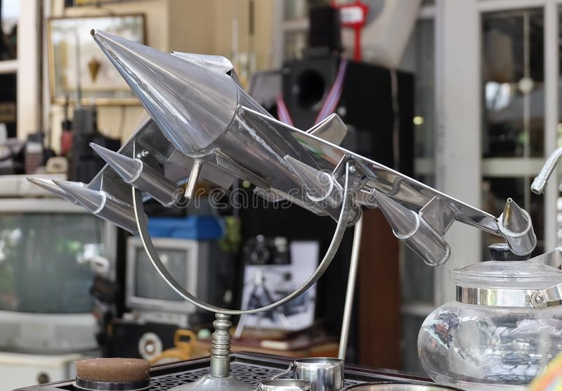 Shine Chrome Fighter Aircraft Models in Vintage Shop. Thailand - June 16, 2016: Retro Static Military or Fighter Aircraft Models Display in A Vintage and Antique stock photos