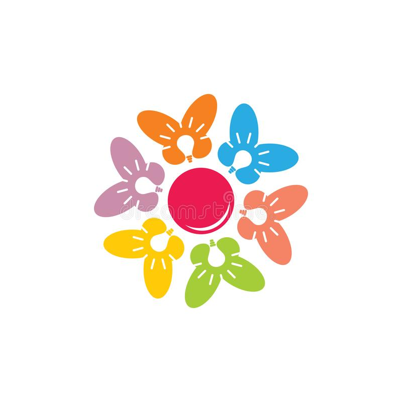 Shine colorful butterfly in circle geometric creative symbol logo royalty free illustration