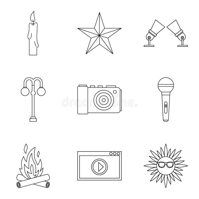 Shine forth icons set, outline style. Shine forth icons set. Outline set of 9 shine forth vector icons for web isolated on white background royalty free illustration