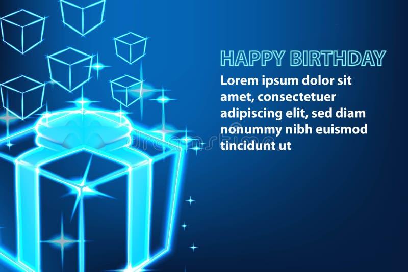 Shine gift box, Happy birthday banner. Shine gift box, Happy birthday banner royalty free illustration