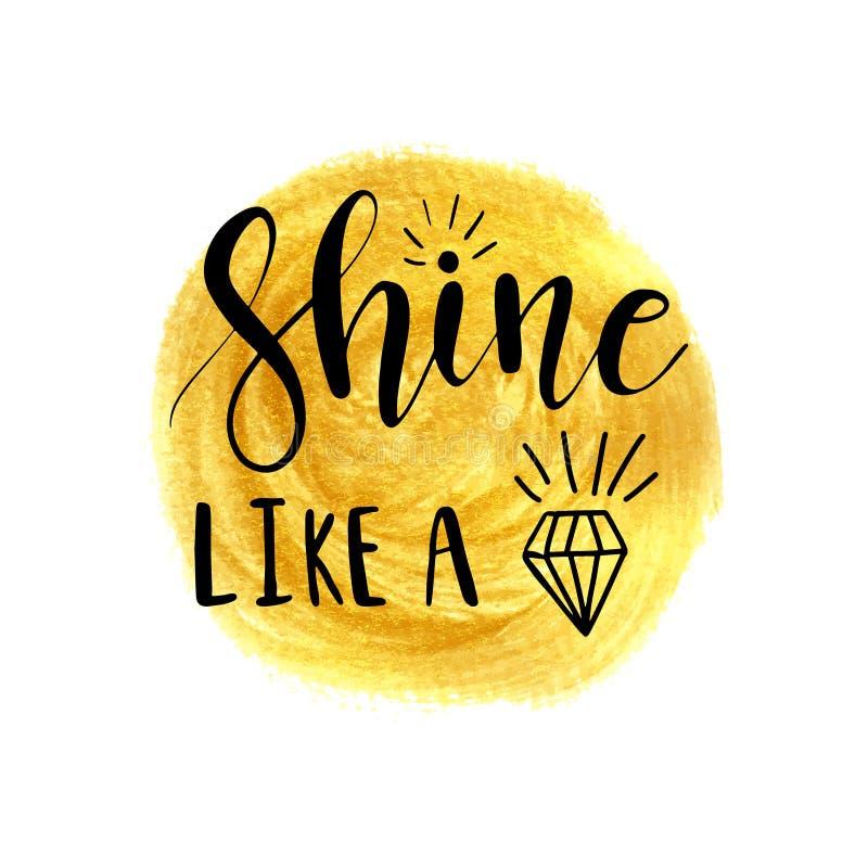 Shine like a diamond lettering inspirational poster design vector illustration