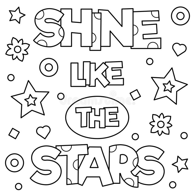 Shine like the stars. Coloring page. Vector illustration. vector illustration