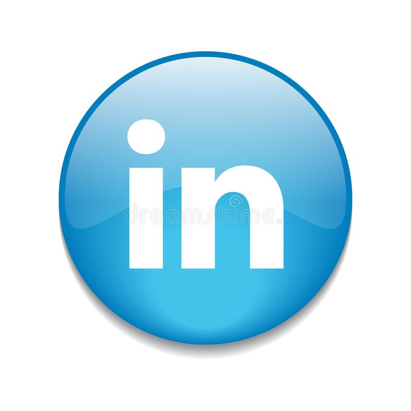 Linkedin button. Popular social media linkedin icon button on  transparent isolated white background royalty free illustration