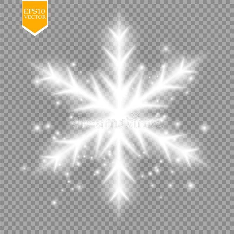 Shine white snowflake with glitter on transparent background. Christmas decoration with shining sparkling light royalty free illustration