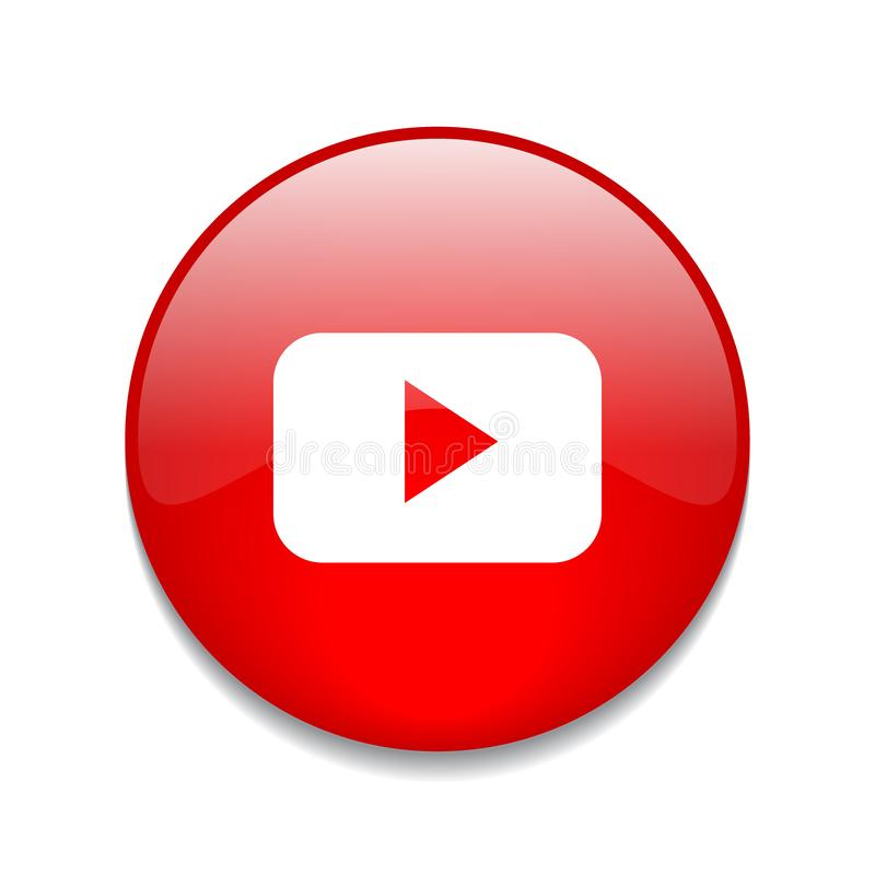 Youtube button logo. Vector illustration -Youtube app logo shiny button red color - isolated on white background royalty free illustration