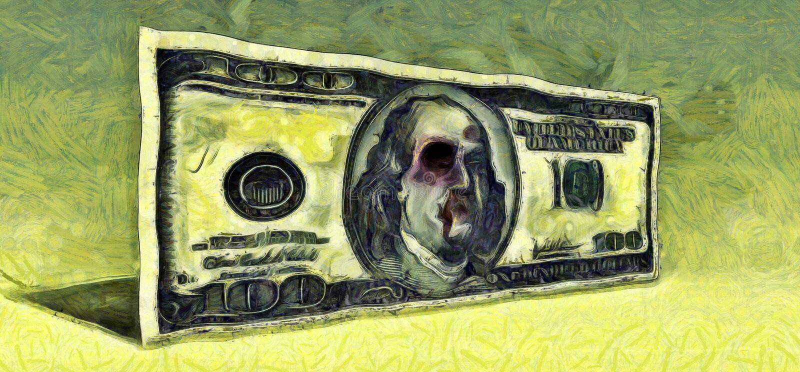 Shiner. 100 dollar banknote. Surreal painting. 100 dollar banknote royalty free illustration