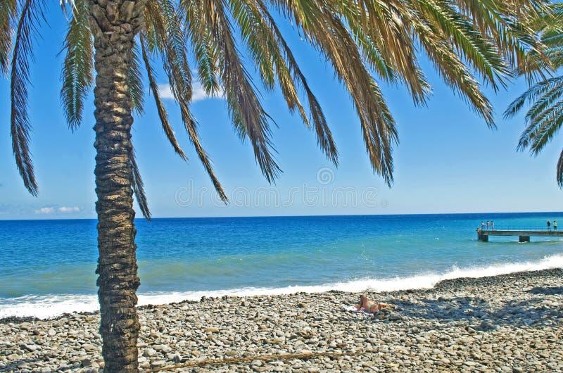 Shingle beach. By the Atlantic Ocean on Madeira island, Portugal stock photos