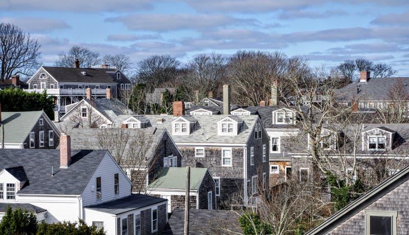 Shingled cottages of the Nantucket town skyline, Nantucket island, Massachussetts stock photo