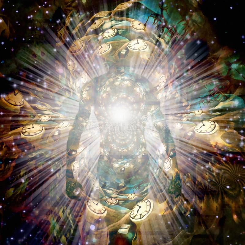 Aura. Shining aura and rays of light. Winged clocks represents flow of time. Human elements were created with 3D software and are not from any actual human vector illustration
