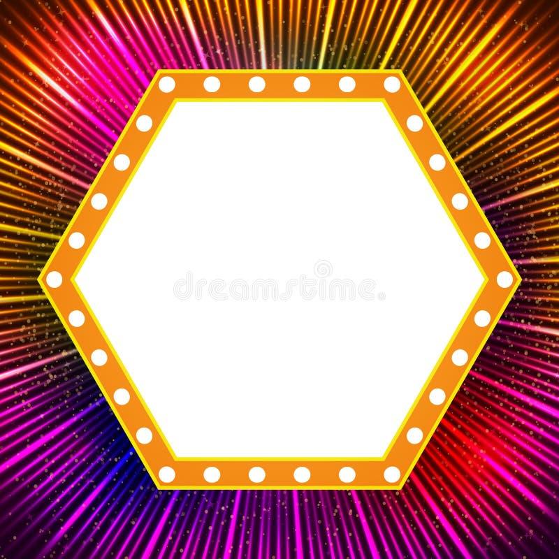 Shining background with retro casino light banner. Vector illustration stock illustration