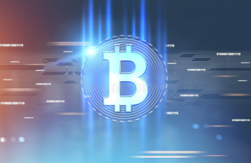 Shining bitcoin sign, blue red background. Shining bitcoin sign inside of a round badge. A futuristic background, a blurred abstract interface. Toned image stock image