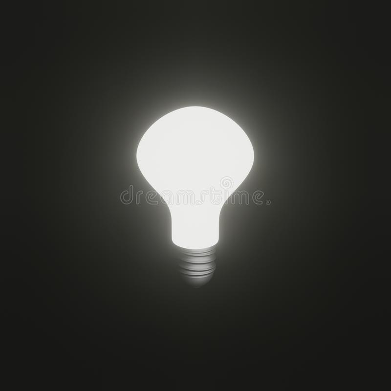Shining bright light bulb on black background. 3D rendered illustration image of shining bright light bulb on black background stock illustration