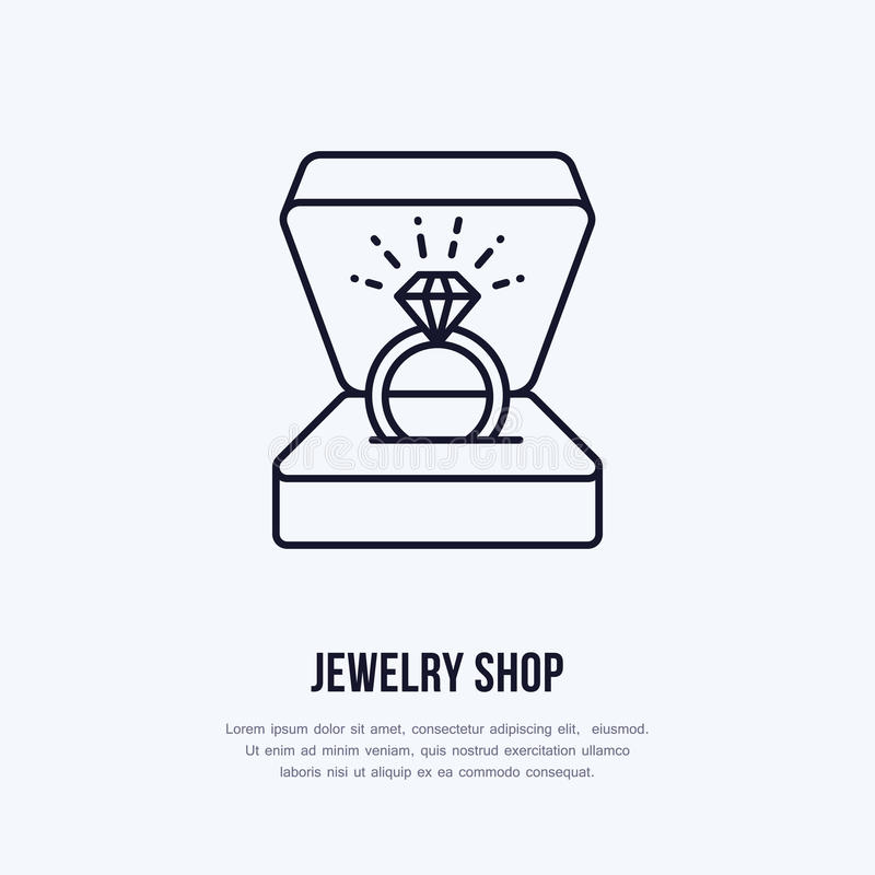 Shining brilliant ring in gift box illustration. Jewelry flat line icon, jewellery store logo. Jewels engagement. Accessories sign vector illustration