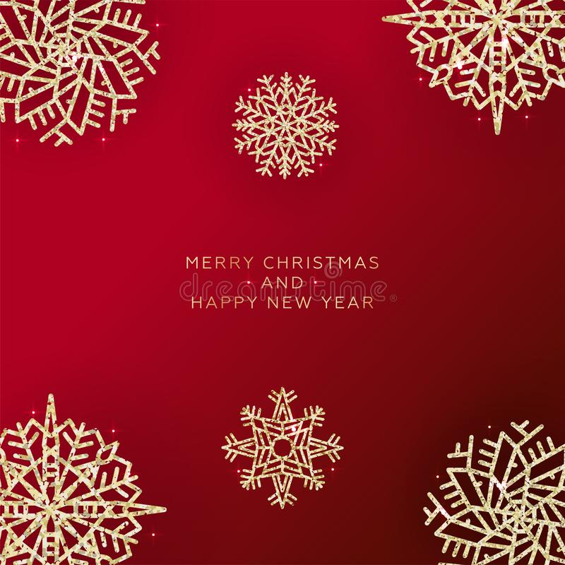 Shining Christmas Background. Christmas Lights. Happy New Year Banner. Red xmas background with glittering gold snowflakes. vector illustration
