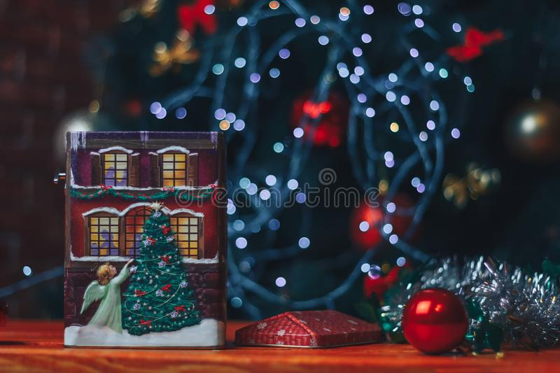 Christmas and New Year Decoration. Bauble on table. stock photos