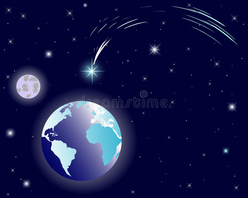 Shining christmas star on night sky. The shining Star of Bethlehem on night sky with earth and moon vector illustration