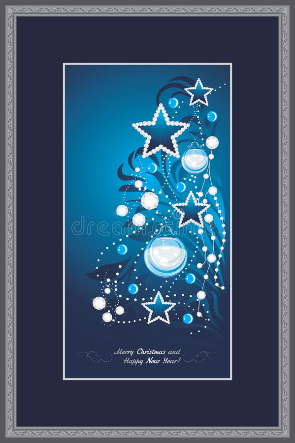 Shining Christmas tree in decorative frame. Postcard royalty free stock photos