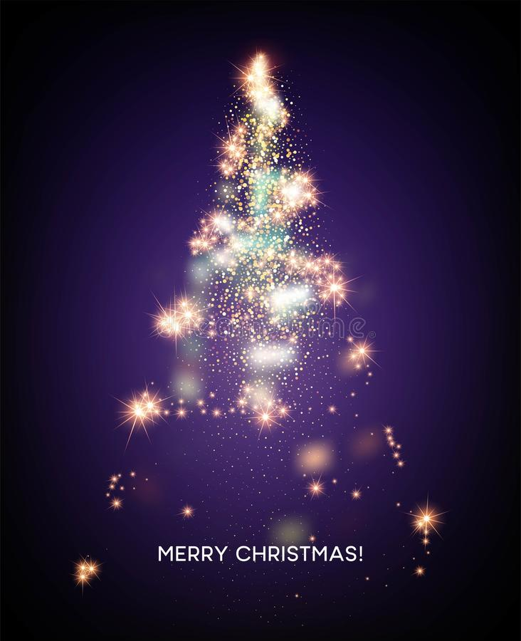 Shining Christmas tree. Light star background. Vector illustration stock illustration