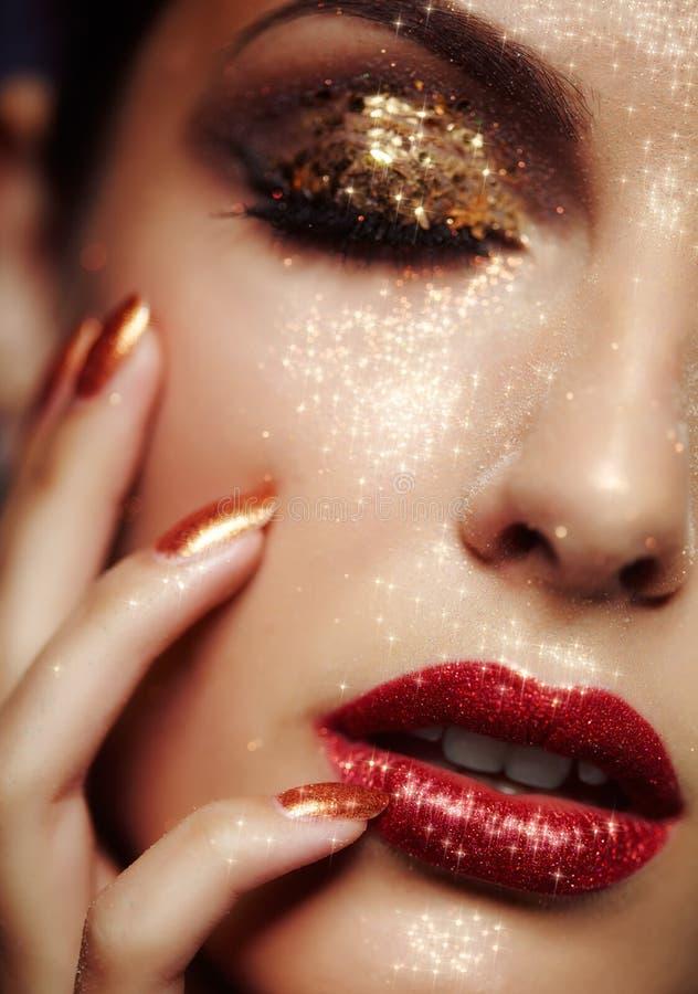 Shining face makeup. Beautiful young woman with shining face makeup
