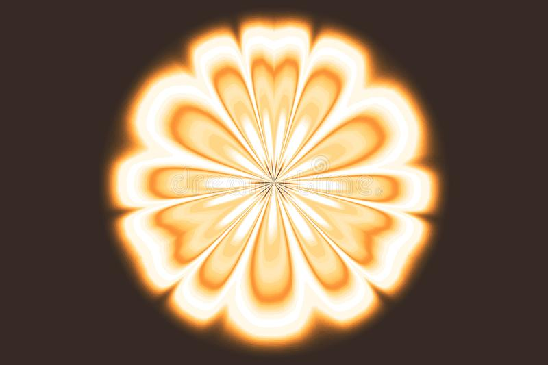 Shining flower, motion illusion, brown background, pattern royalty free stock photography