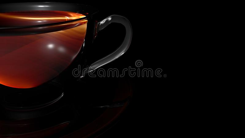 Shining glass cup of hot aromatic tea placed over a transparent saucer. Shining glass cup of hot aromatic tea isolated on black background and placed over a royalty free illustration