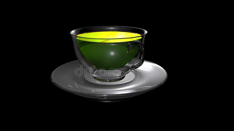 Shining glass cup of hot aromatic tea placed over a transparent saucer. Shining glass cup of hot aromatic tea isolated on black background and placed over a stock illustration